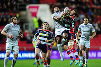 Semesa Rokoduguni of Bath Rugby competes with Luke Arscott of Bristol Rugby for the ball in the air. European Rugby Challenge Cup match, between Bristol Rugby and Bath Rugby on January 13, 2017 at Ashton Gate Stadium in Bristol, England. Photo by: Patrick Khachfe / Onside Images