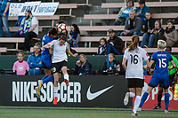 Seattle, WA - April 15th, 2017: Carson Pickett , Kelley O'Hara during a regular season National Women's Soccer League (NWSL) match between the Seattle Reign FC and Sky Blue FC at Memorial Stadium.