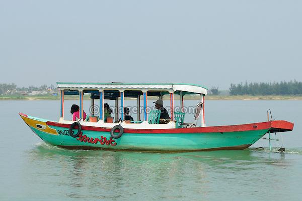 Asia, Vietnam, near Hoi An. Small pleasure boat on the Thu Bon river near Hoi An.