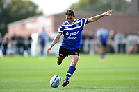 Alex Davies of Bath United kicks for the posts. Premiership Rugby Shield match, between Bristol Bears A and Bath United on August 31, 2018 at the Cribbs Causeway Ground in Bristol, England. Photo by: Patrick Khachfe / Onside Images