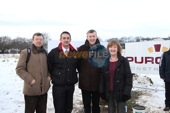 David Stratton, Richie Culhane, Fr. Nulty and Anne Phillips at the Turning of the First Sod on the Site of the new school on the Bryanstown Crossroute...(Photo credit should read Jenny Matthews www.newsfile.ie)....This Picture has been sent you under the conditions enclosed by:.Newsfile Ltd..The Studio,.Millmount Abbey,.Drogheda,.Co Meath..Ireland..Tel: +353(0)41-9871240.Fax: +353(0)41-9871260.GSM: +353(0)86-2500958.email: pictures@newsfile.ie.www.newsfile.ie.