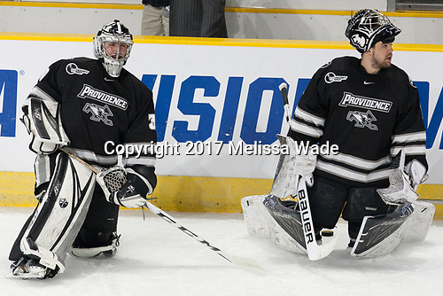 Kris Carlson (PC - 30), Brendan Leahy (PC - 1) - The Harvard University Crimson defeated the Providence College Friars 3-0 in their NCAA East regional semi-final on Friday, March 24, 2017, at Dunkin' Donuts Center in Providence, Rhode Island.