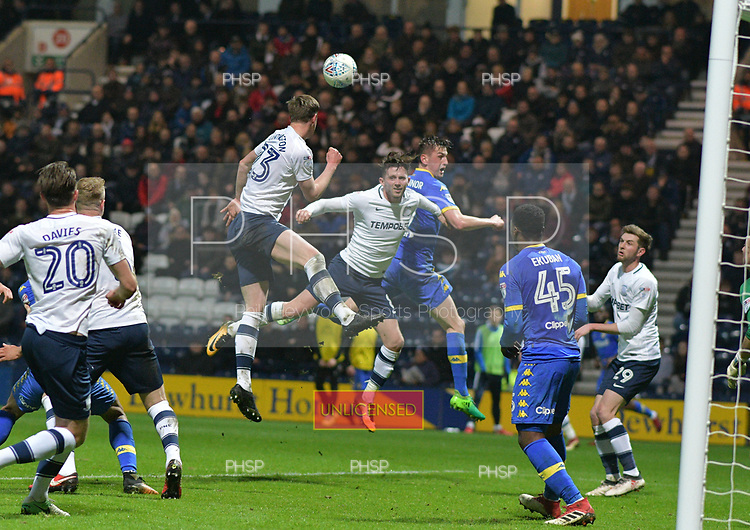 10/04/2018 Sky Bet League Championship Preston North End v Leeds United<br /> <br /> Paul Huntington clears