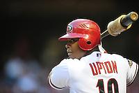Apr. 26, 2011; Phoenix, AZ, USA; Arizona Diamondbacks outfielder Justin Upton against the Philadelphia Phillies at Chase Field. Mandatory Credit: Mark J. Rebilas-