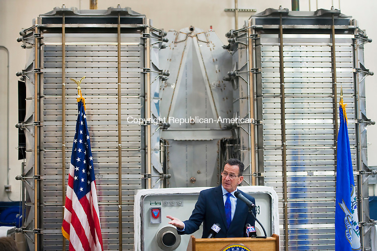 TORRINGTON, CT--- -111915JS05--Gov. Dannel P. Malloy speaks of the importance of clean energy technology and business expansion during a ground-breaking ceremony at FuelCell Energy in Torrington on Thursday. The company will expand their facility by over 100,000 square-feet. <br /> Jim Shannon Republican-American