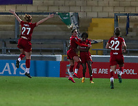 13th February 2020; Deva Stadium, Chester, Cheshire, England; Womens Super League Football, Liverpool Womens versus Arsenal Womens; Liverpool Women celebrate scoring the opening goal scored by  Rinsola Babajide of Liverpool Women in the 14th minute for 1-0