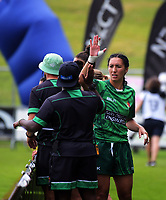 Sarah Goss cleberates winning the women's pool match between Manawatu and Wellington on day one of the 2018 Bayleys National Sevens at Rotorua International Stadium in Rotorua, New Zealand on Saturday, 13 January 2018. Photo: Dave Lintott / lintottphoto.co.nz
