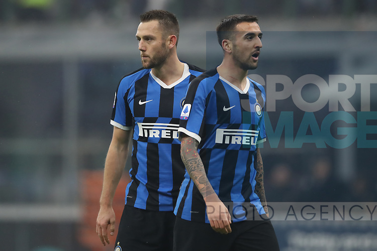 Stefan de Vrij and Matias Vecino of Inter during the Serie A match at Giuseppe Meazza, Milan. Picture date: 9th February 2020. Picture credit should read: Jonathan Moscrop/Sportimage