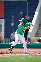 Hartford Yard Goats designated hitter Roberto Ramos (41) at bat during a game against the Trenton Thunder on August 26, 2018 at Dunkin' Donuts Park in Hartford, Connecticut.  Trenton defeated Hartford 8-3.  (Mike Janes/Four Seam Images)