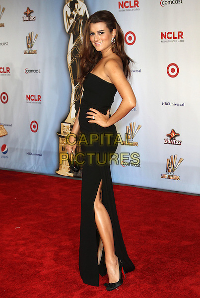 Cote de Pablo.2011 NCLR ALMA Awards Held at The Santa Monica Civic Auditorium, Santa Monica, California, USA,.10th September 2011 .full length black strapless dress long maxi slit split hand on hip side .CAP/ADM/KB.©Kevan Brooks/AdMedia/Capital Pictures.