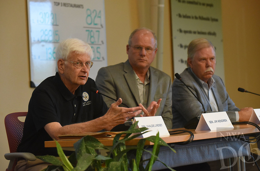 NWA Democrat-Gazette/FLIP PUTTHOFF <br /> State Sens. Uvalde Lindsey (from left), Jim Hendren and State Rep. Dan Douglas take part Wednesday June 21 2017 in the panel discussion with educators.