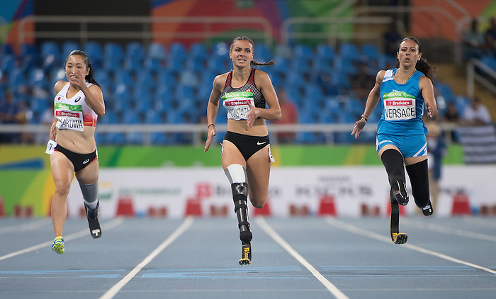 RIO DE JANEIRO - 14/9/2016:  Marissa Papaconstantinou competes in the Women's 200m - T44 Heat at the Olympic Stadium during the Rio 2016 Paralympic Games in Rio de Janeiro, Brazil. (Photo by Matthew Murnaghan/Canadian Paralympic Committee