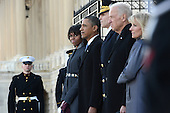 United States President Barack Obama, first lady Michelle Obama, U.S. Vice President Joe Biden, and Dr. Jill Biden along with Major General Michael S. Linnington, participate in the review of the troops following the presidential inaugural swearing-in ceremony in Washington, DC, on January 21, 2013.     .Credit: Linda Davidson / Pool via CNP