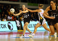 28.07.2015 Silver Ferns Katrina Grant in action during the Silver Fern v South Africa netball test match played at Trusts Arena in Auckland. Mandatory Photo Credit ©Michael Bradley.