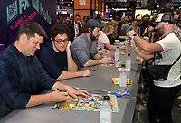 FOX FAN FAIR AT SAN DIEGO COMIC-CON© 2019: L-R: BLESS THE HARTS Executive Producers Phil Lord and Chris Miller and Cast Member Ike Barinholtz during the BLESS THE HARTS booth Signing on Friday, July 19 at the FOX FAN FAIR AT SAN DIEGO COMIC-CON© 2019. CR: Alan Hess/FOX © 2019 FOX MEDIA LLC