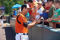 Bowie Baysox Ryan Ripken (22) signs autographs before an Eastern League game against the Binghamton Rumble Ponies on August 21, 2019 at Prince George's Stadium in Bowie, Maryland.  Bowie defeated Binghamton 7-6 in ten innings.  (Mike Janes/Four Seam Images)