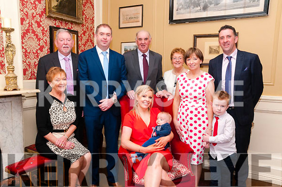 Baby Sean Og Cunningham with his parents Pat & Valerie Cunningham, Glin who,  was christened in Glin Church by Fr. Crawford on Sunday last and afterwards in the Listowel Arms Hotel. L-R: Ursala  & John Leyden Pat Cunningham, Valerie & Sean Og, John & Kathleen Cunningham, Breda & Mark Leyden & Brian Cinningham.