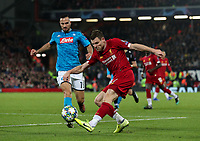 Liverpool's James Milner crosses under pressure from Napoli's Nikola Maksimovic <br /> <br /> Photographer Alex Dodd/CameraSport<br /> <br /> UEFA Champions League Group E - Liverpool v Napoli - Wednesday 27th November 2019 - Anfield - Liverpool<br />  <br /> World Copyright © 2018 CameraSport. All rights reserved. 43 Linden Ave. Countesthorpe. Leicester. England. LE8 5PG - Tel: +44 (0) 116 277 4147 - admin@camerasport.com - www.camerasport.com