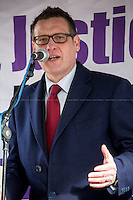 Karl Turner MP (Labour Member of Parliament for Kingston upon Hull East, Criminal Lawyer and Shadow Solicitor General).<br /> <br /> London, 23/02/2015. Today, the &quot;Justice Alliance&quot; and their Chris Grayling puppet dresses as King John Lackland arrived in Westminster for the last day of a tree-day march called &quot;Relay For Rights&quot; from Runnymede, birth place of the Magna Carta, to Old Palace Yard, where they held the &quot;Not the Global Law Summit&quot; rally. At the end of the demonstration outside the Houses of Parliament, protesters marched peacefully to the Queen Elizabeth II Centre where the &quot;Global Law Summit&quot; was taking place. From the organisers Facebook page: &lt;&lt; [&hellip;] February 23rd 2015 is the 799th and 8 month anniversary of the signing of the Magna Carta. The Government is using this non-anniversary to host the Global Law Summit, &quot;a unique opportunity to explore what the future holds for global business and the rule of law&quot;. This back-slapping corporate jamboree, partly funded by the Ministry of Justice, comes at a time when the same department has waged a slash-and-burn campaign on advice and representation, leaving people without deep pockets unable to get justice in court. Magna Carta represents the oldest historical commitment to equal access to justice in Britain. We are here to remind the Government of its duty to provide access to justice for all, and not merely to the rich. [&hellip;]&gt;&gt;<br /> <br /> For more information please click here: http://bit.ly/1G6aHZx