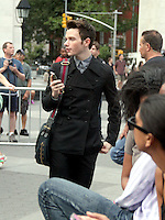 August 11, 2012 Chris Colfer shooting on location for  Glee at Washington Square in New York City.Credit:© RW/MediaPunch Inc. /NortePHOTO.com