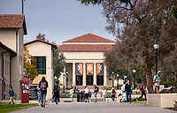 Thorne Hall as seen from Occidental College's Johnson Student Center (JSC) quad on Feb. 27, 2019.<br />