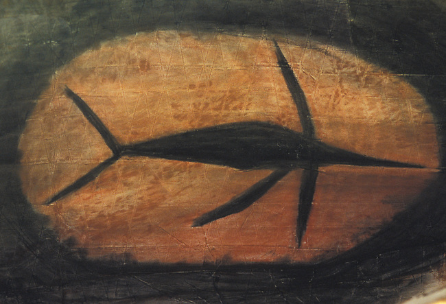 Chumash cave painting called pictographs of a dophin located inside a remote cave near Lompoc California