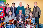 Sarah Finnan Killarney and Lorraine Nash Lyrecompane whose new album  HOME was launched by Kerry Mayor Pat McCarthy in the KDYS Killarney on Saturday back l-r: Caroline Lynch, Kevin Gleeson, Tim Nash, Joan Nash and Tim O'Shea