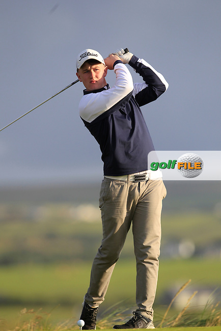 Dale Jackson (Massereene) on the 2nd tee during Round 2 of the South of Ireland Amateur Open Championship at LaHinch Golf Club on Thursday 23rd July 2015.<br /> Picture:  Golffile | Thos Caffrey