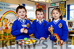 Ben Smith, Robbie Powell and Chloe Vyscowska, pictured on their first day of school at CBS Primary School, Tralee on Thursday, August 31st lastl