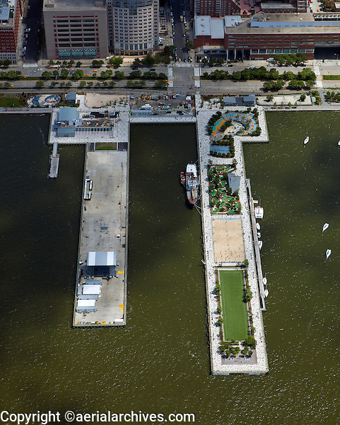 aerial photograph Pier 25, Hudson River Park, Lower Manhattan, New York City