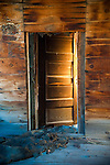 Door of an abandoned building at the Baldwin Mine, Jackson Range, Nev.