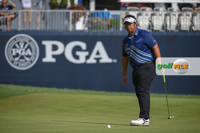 Kiradech Aphibarnrat (THA) watches his putt on 9 during 2nd round of the 100th PGA Championship at Bellerive Country Club, St. Louis, Missouri. 8/11/2018.<br /> Picture: Golffile | Ken Murray<br /> <br /> All photo usage must carry mandatory copyright credit (© Golffile | Ken Murray)