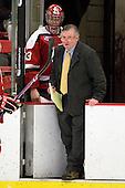 David Grilk (St. Lawrence - 33), Joe Marsh (St. Lawrence - Head Coach) - The Harvard University Crimson defeated the St. Lawrence University Saints 4-3 on senior night Saturday, February 26, 2011, at Bright Hockey Center in Cambridge, Massachusetts.
