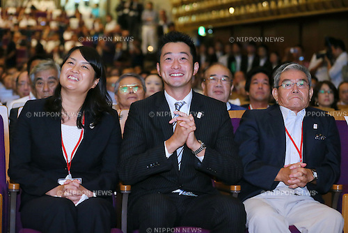 (L to R) Ai Shibata, Junichi Miyashita, Takuji Hayata, SEPTEMBER 8, 2013 : Supporters of Tokyo bid team watched vote for the Summer Olympic Games in 2020 during the Public Viewing for 2020 Summer Olympic and Games at The Tokyo Chamber of Commerce and Industry hall (Tosho Hall), Tokyo Japan on Sunday September 8, 2013. (Photo by Yusuke Nakanishi/AFLO SPORT) [1090]