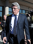 Atletico de Madrid's President Enrique Cerezo during the funeral ceremony in memory of the national soccer team coach Luis Aragones. February 2, 2014. (ALTERPHOTOS/S.Lopez)