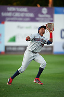 Mahoning Valley Scrappers left fielder Oscar Gonzalez (39) catches a fly ball during a game against the Williamsport Crosscutters on July 8, 2017 at BB&T Ballpark at Historic Bowman Field in Williamsport, Pennsylvania.  Williamsport defeated Mahoning Valley 6-1.  (Mike Janes/Four Seam Images)