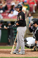 Quad Cities River Bandits shortstop Dayne Parker (27) at bat during a game against the Kane County Cougars on August 14, 2014 at Third Bank Ballpark in Geneva, Illinois.  Kane County defeated Quad Cities 4-1.  (Mike Janes/Four Seam Images)
