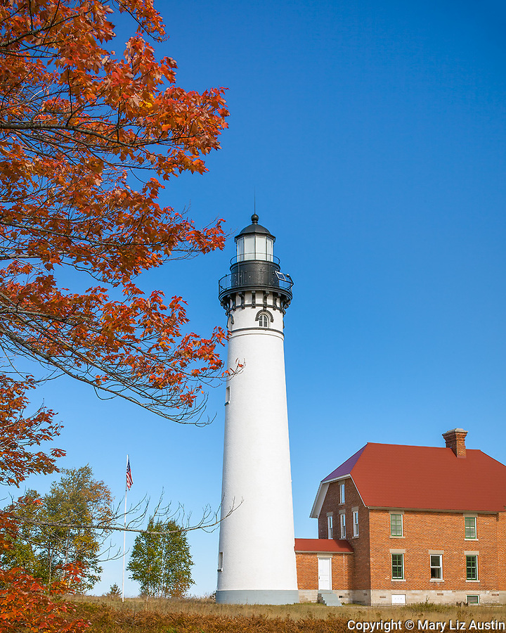 Pictured Rocks National Lakeshore, MI: Au Sable Light Station (1874) on Au Sable Point in fall.