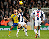 Leeds United's Kalvin Phillips vies for possession with West Bromwich Albion's Jay Rodriguez<br /> <br /> Photographer David Shipman/CameraSport<br /> <br /> The EFL Sky Bet Championship - West Bromwich Albion v Leeds United - Saturday 10th November 2018 - The Hawthorns - West Bromwich<br /> <br /> World Copyright &copy; 2018 CameraSport. All rights reserved. 43 Linden Ave. Countesthorpe. Leicester. England. LE8 5PG - Tel: +44 (0) 116 277 4147 - admin@camerasport.com - www.camerasport.com
