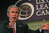 Washington, D.C. - May 31, 2007 -- United States President George W. Bush makes remarks on the United States International Development Agenda at the Ronald Reagan Building and International Trade Center in Washington, D.C. on Thursday, May 31, 2007.<br /> Credit: Dennis Brack - Pool via CNP
