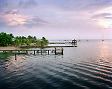 HONDURAS, Roatan, seascape with piers, Halfmoon Bay