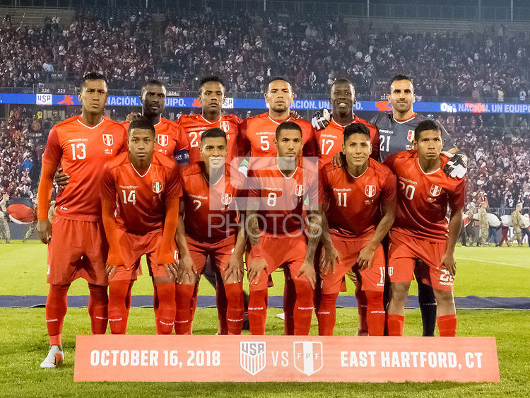 East Hartford, Connecticut - October 16, 2018: International friendly (Kickoff Series). U.S. Men's National Team (USMNT) (blue) tied Peru (red), 1-1, at Pratt and Whitney Stadium on Rentschler Field.