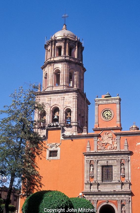 The Templo de San francisco church in the city of Queretaro, Mexico. The historic centre of Queretaro is a UNESCO World Heritage Site.