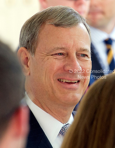 Chief Justice of the United States John Roberts on the Colonnade as he arrives for the Oath of Office ceremony for new Associate Justice of the US Supreme Court Neil Gorsuch in the Rose Garden of the White House in Washington, DC on Monday, April 10, 2017.<br /> Credit: Ron Sachs / CNP<br /> (RESTRICTION: NO New York or New Jersey Newspapers or newspapers within a 75 mile radius of New York City)