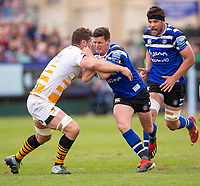 Bath Rugby's Freddie Burns in action during todays match<br /> <br /> Photographer Bob Bradford/CameraSport<br /> <br /> Premiership Rugby Cup - Bath Rugby v Wasps - Sunday 5th May 2019 - The Recreation Ground - Bath<br /> <br /> World Copyright © 2018 CameraSport. All rights reserved. 43 Linden Ave. Countesthorpe. Leicester. England. LE8 5PG - Tel: +44 (0) 116 277 4147 - admin@camerasport.com - www.camerasport.com