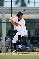 GCL Pirates first baseman Sam Kennelly (7) at bat during the first game of a doubleheader against the GCL Yankees 2 on July 31, 2015 at the Pirate City in Bradenton, Florida.  GCL Pirates defeated the GCL Yankees 2 2-1.  (Mike Janes/Four Seam Images)