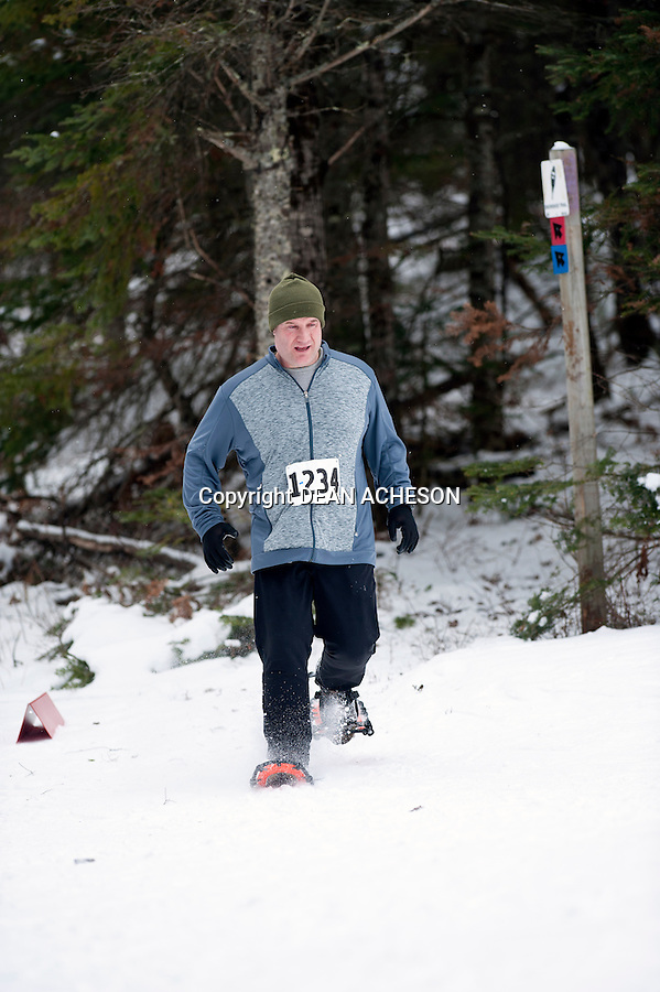 Paul Wilke competes in the 2016 Moose Tracks Snowshoe Race at Minocqua Winter Park & Nordic Center in Minocqua, WI on Jan. 3, 2016.