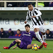 9th February 2018, Stadio Artemio Franchi, Florence, Italy; Serie A football, ACF Fiorentina versus Juventus;  Alex Sandro of Juventus is slide tackled by Gil Dias of Fiorentina