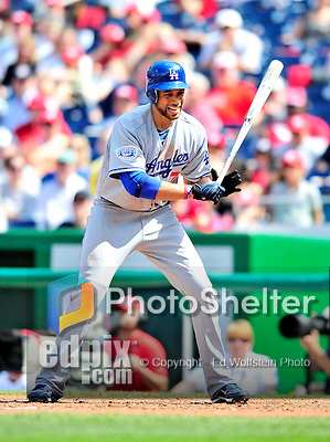 25 April 2010: Los Angeles Dodgers' first baseman James Loney at bat during a game against the Washington Nationals at Nationals Park in Washington, DC. The Nationals shut out the Dodgers 1-0 to take the rubber match of their 3-game series. Mandatory Credit: Ed Wolfstein Photo