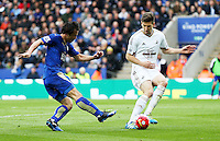 Shinji Okazaki of Leicester City has a shot during the Barclays Premier League match between Leicester City and Swansea City played at The King Power Stadium, Leicester on April 24th 2016